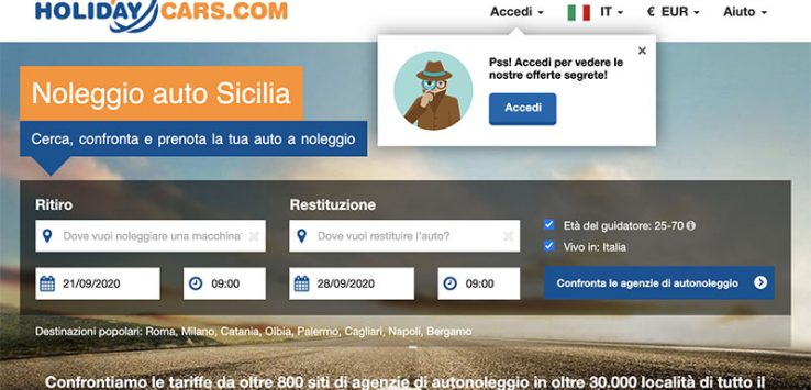 Noleggio Auto in Sicilia Economico