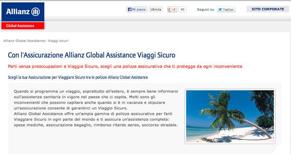 Viaggi e Vacanze: Polizze Assicurative Allianz Global Assistance?